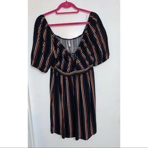 Xhilaration Black Orange & White Striped Dress